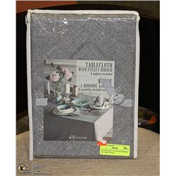 CLOTH TABLE CLOTH AND NAPKIN SET GREY, 60 X 84