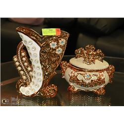 ORNATE CANDY DISH & MATCHING VASE SET