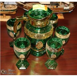 ART GLASS GREEN & GOLD PITCHER & GLASS SET