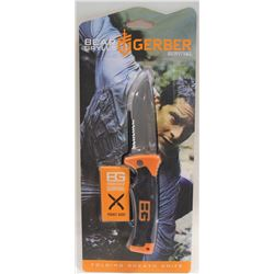 "NEW GERBER 4"" BEAR GRYLLS SURVIVAL KNIFE W/ NYLON"