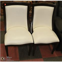 PAIR OF TWO TONE WOOD TRIMMED SIDE CHAIRS