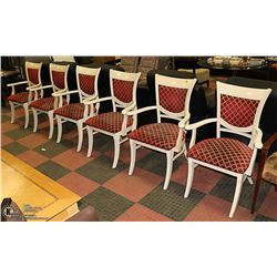 SET OF 6 OFFWHITE & RED FABRIC ARMCHAIRS