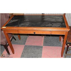 WOOD & FAUX LEATHER TOP DESK 48 X 24 X 31