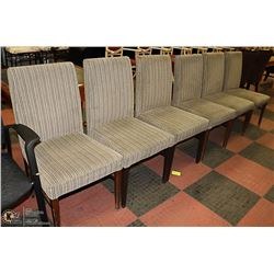 SET OF 6 GREY FABRIC SIDE CHAIRS