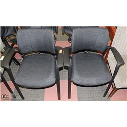 LOT OF 2 NEW BLACK FABRIC WAITING ROOM CHAIRS