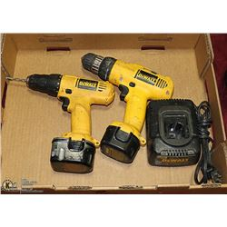 """PAIR OF DEWALT DRILLS 3/8"""" CORDLESS WITH BATTERY"""