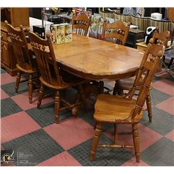 RICHI OAK TABLE WITH TWO LEAFS AND SIX CHAIRS