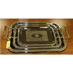 GOLD ACCENTED 3 PIECE SERVING TRAY SET