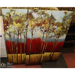 3 PANEL CANVAS PAINTING, TREE NATURE ART ALL 11 X