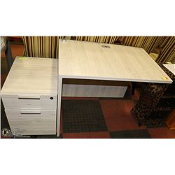 NEW OFF WHITE OFFICE DESK WITH FILING CABINET