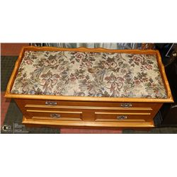 MAPLE WOOD & NEEDLEPOINT FABRIC CEDAR LINED CHEST