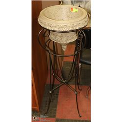 "DECORATIVE PLANTER ON WROUGHT IRON STAND 41"" TALL"