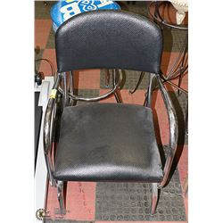 CHROME & BLACK ARM CHAIR