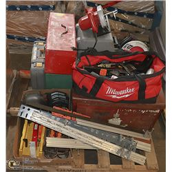 4 TOOL BOXES AND BAG OF HAND TOOLS... AND 2
