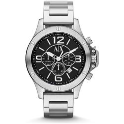 NEW ARMANI EXCHANGE SILVER/BLACK WATCH MSRP $355