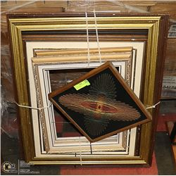 LOT OF 5 WOOD PICTURE FRAMES VARIOUS SIZES