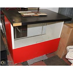 RED/ BLACK DISPLAY CABINET- DOLLY NOT INCLUDED