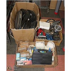 2 FLATS OF SHOP HARDWARE AND BOX OF HOSE AND BELTS