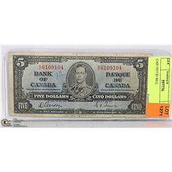 CAD 1937 $5 BILL