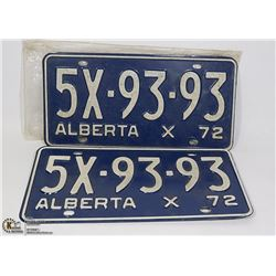 VINTAGE PAIR OF ALBERTA LICENSE PLATES