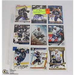 SET OF 9 AUTHOGRAPHED OILERS HOCKEY CARDS