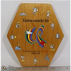 WOODEN 1983 UNIVERSIADE 83 12 PIN DISPLAY