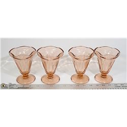 LOT OF 4 PINK DEPRESSION GLASS SUNDAE DISHES