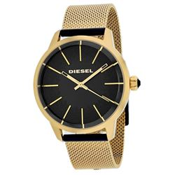 NEW DIESEL GOLD BAND/BLACK DIAL WATCH MSRP $295