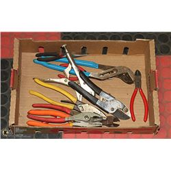 LARGE BOX WITH VARIOUS PLIERS, SNIPS, CUTTERS AND