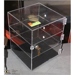 ROTATING ACRYLIC DISPLAY CASE - 2 SHELVES