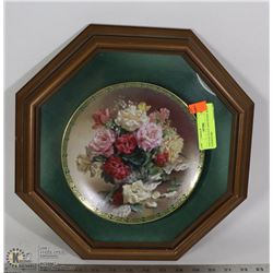 VINTAGE PLATE AND FRAME WITH PAPERWORK