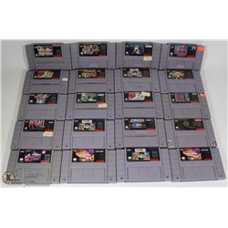 BOX OF SUPER NINTENDO GAMES. ELECTRONICS