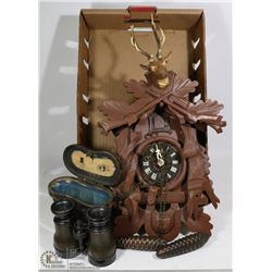ANTIQUE BINOCULARS/OPERA GLASSES AND COO COO CLOCK