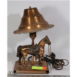 VINTAGE COPPER HORSE LAMP