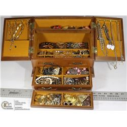 LARGE JEWELLERY MUSIC BOX AND ITEMS
