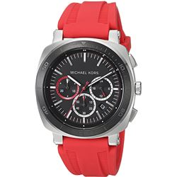 NEW MICHAEL KORS RED SILICON BAND CHRONO MSRP $399