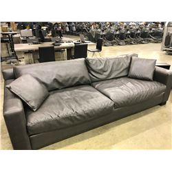 APPROX 8' LEATHER 3 SEAT COUCH IN DARK GREY