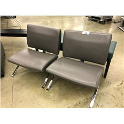 2 GREY AND CHROME RECEPTION CHAIRS