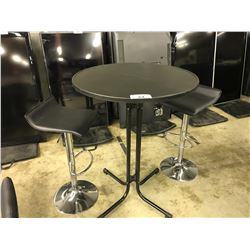 "BLACK 30"" BAR HEIGHT TABLE WITH 2 PNEUMATIC STOOLS"