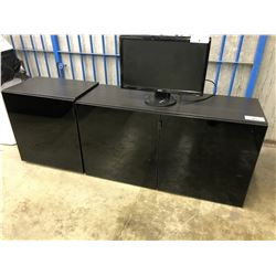 ONE 4'  AND ONE 2' DARK WOOD AND SMOKED GLASS ENTERTAINMENT UNIT