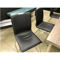 6 BLACK AND CHROME STACKING SIDE CHAIRS - ONE MISMATCHED