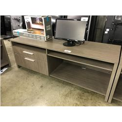 GREY OAK 6.5' CREDENZA WITH FILE STORAGE