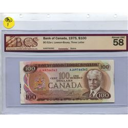 1975 $100.00 BILL, LAWSON-BOUEY SIGNATURES, BCS GRADED
