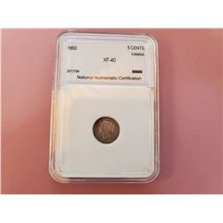 1893 5 CENT - XF40, GRADED NNC