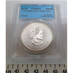 2016 $5.00 COIN - MS60, GRADED CCCS