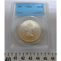 1964 $1.00 - MS60, GRADED CCCS
