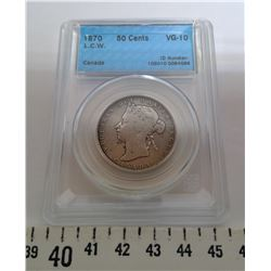 1870 50 CENT PIECE - VG10, GRADED CCCS