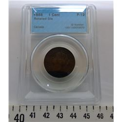 1858 1 CENT - F12, GRADED CCCS
