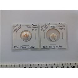 2004 MAPLE LEAF SILVER 99.99 $1.00 & $2.00 COINS