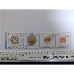 2002 25¢ SILVER, 2010 $1.00, 2012 1 CENT, 2010 1 CENT SPECIMEN COINS